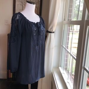 Cynthia Rowley Navy Blue Peasant Top, Size S